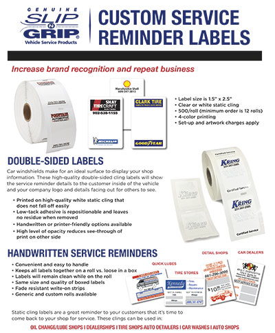 Slip-N-Grip® Custom Service Reminder Labels