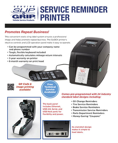 Slip-N-Grip® Service Reminder Printer